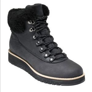 Cole Haan Grand Zero Black Shearling Hiker boot 10